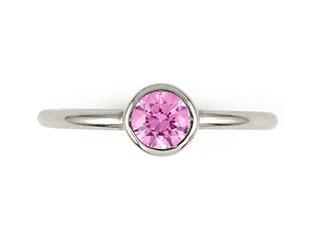 Swarovski Pink Cubic Zirconia Bezel Set Stackable Band Sterling Silver 925 Ring