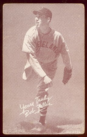 1939 Exhibits Regular (Baseball) Card# 18 bob feller (pitching) - small