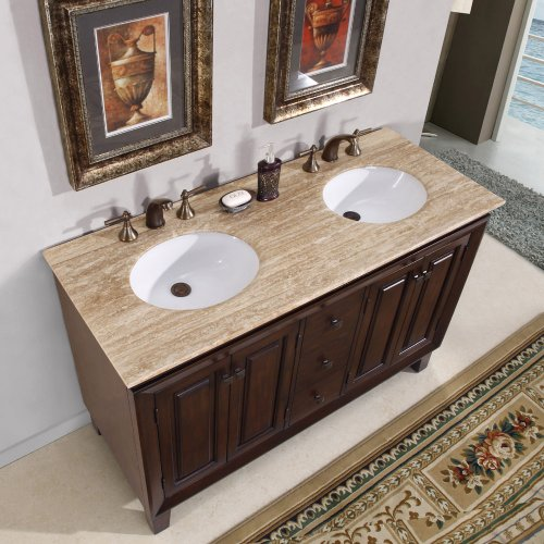 Silkroad Exclusive Travertine Top Double Sink Bathroom Vanity Furniture Cabinet