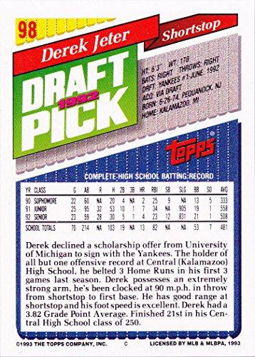 1993 Topps # 98 Derek Jeter (RC) - New York Yankees - Rookie Baseball Card In