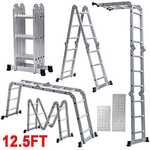 Yaheetech 12.5ft Multi Purpose Aluminum Ladder Folding Step Ladder Scaffold