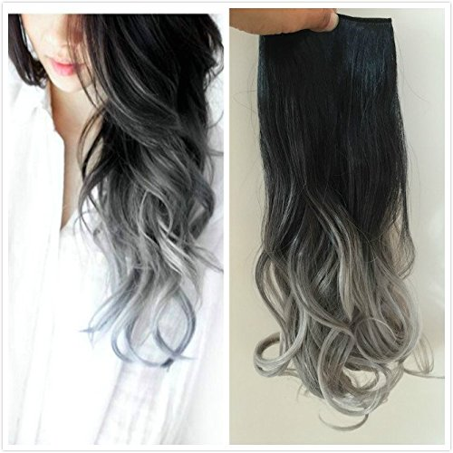 One piece 3/4 Full Head Clip in Hair Extensions Ombre One Piece 2 Tones Wavy