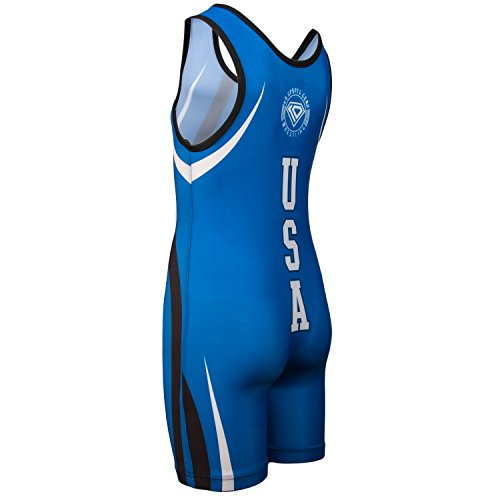 Wrestling Singlet by KO Sports Gear: BLUE USA - Fun, Affordable, Head Turning