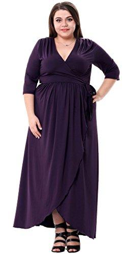 Sapphyra Women's Plus 3/4 Sleeve Ruched Waist Wrap Formal Maxi Dress Size 1X-5X