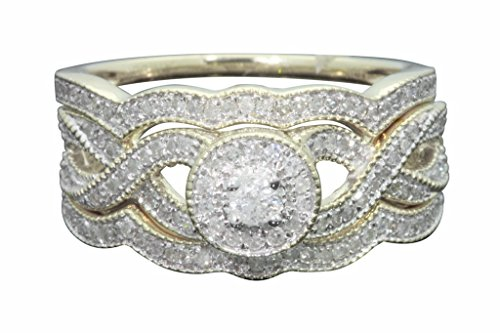 10K Yellow Gold .57 Carat Real Diamond Engagement Ring Wedding Band Bridal Ring