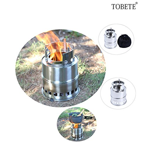 TOBETE Stainless Steel Burning Camping Stove Compact Wood Lightweight Burning