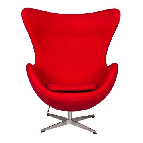 LeisureMod Arne Jacobsen Egg Chair & Ottoman (Red Wool)