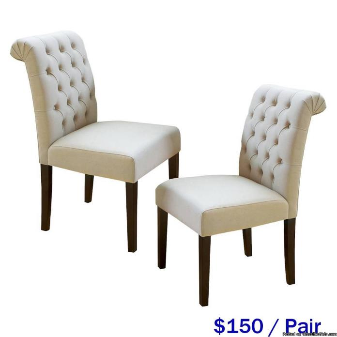 IVORY ROLL TOP DINING CHAIRS