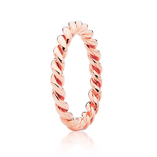 MYJS Stackable Rose Gold Plated Twist Rope Ring,8