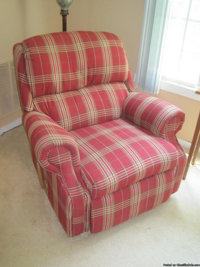 chair - red plaid recliner